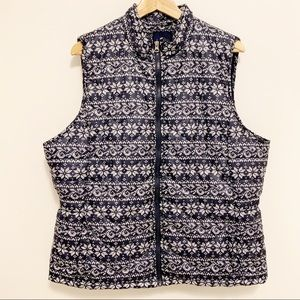 Basic Editions Winter Print Puff Zip Vest